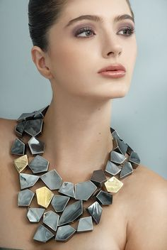 "Oscar Figueroa - Necklace ""Mosaicos del tiempo"", Award in the category ""Diseño de Joyeria"" when Biennale of Design in Mexico Contemporary Jewellery, Modern Jewelry, Custom Jewelry, Jewelry Art, Unique Jewelry, Jewelry Gifts, Silver Jewelry, Jewelry Accessories, Fine Jewelry"