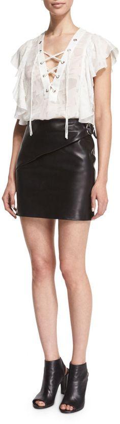 IRO Elodie Leather Mini Skirt, Black