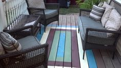 Painted rug for outdoors, what a cool idea!