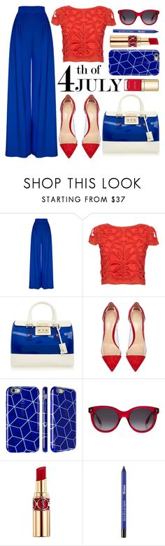 """""""4th of July"""" by minchu ❤ liked on Polyvore featuring Alice + Olivia, Furla, Gianvito Rossi, Alexander McQueen, Yves Saint Laurent and Dolce&Gabbana"""