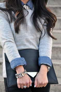 Banana Republic sweater, Old Navy chambray, Gap jeans and bracelet, H&M clutch, Forever 21 necklace, Michael Kors watch, David Yurman ring, Essie Borrowed & Blue nails