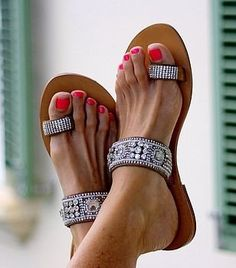 Serena Sandals by Aspiga love the shoes, but not her skeletal feet. Shoe Boots, Shoes Sandals, Heels, Bling Sandals, Flat Sandals, Sandals 2014, Sparkly Sandals, Toe Ring Sandals, Rhinestone Sandals