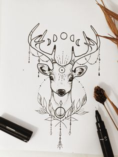 Deer Tattoo is part of drawings Quotes Lyrics Truths - drawings Quotes Lyrics Truths Dark Art Drawings, Pencil Art Drawings, Art Drawings Sketches, Easy Drawings, Tattoo Drawings, Body Art Tattoos, Hirsch Tattoo, Deer Drawing, Deer Tattoo