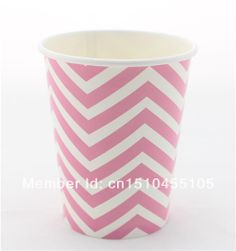 Wholesale Disposable Tableware Pink Chevron Paper Cups Matching Paper Plate Mix Colors Free Shipping $68.00