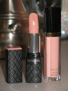 Revlon's ColorBurst Lipstick in Soft Nude paired with Super Lustrous Lip gloss in Peach Petal.
