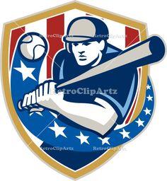 Baseball Hitter Batting Stars Stripes Retro Vector Stock Illustration