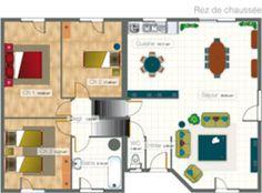 Plans de maison mod le aquarelle maison de plain pied for Construire maison 90 000 euros