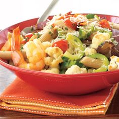 Penne with Roasted Veggies and Shrimp #recipe