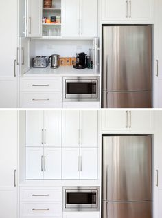 Kitchen Design Idea - Store Your Kitchen Appliances In A Dedicated Appliance // Folding doors hide the space above the microwave large enough to store multiple appliances and everything you need to make a comforting cup of tea.