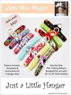 """Just a Little Hanger 16"""" to 18"""" Doll Accessory Pattern"""