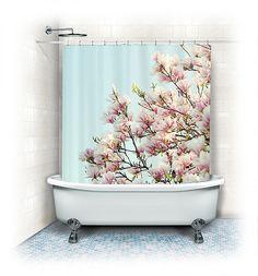 "Magnolia Fabric Shower Curtain ""Magnolias"" aqua, white, pink, bathroom, home decor, pastel flowers,nature, floral shower curtain on Etsy, $73.90 AUD"