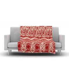 "Catherine Holcombe ""Cranberry and Cream"" Pattern Fleece Throw Blanket"