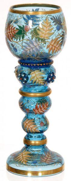"7 3/4"" UNMARKED MOSER BLUE ART GLASS RHINE WINE"