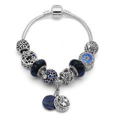 Silver Murano Glass Bead Charm Bangle & Bracelet with Moon Star Pendants Women Men DIY Inspirational jewelry Dropshipping Bangle Bracelets With Charms, Bracelet Clasps, Bangles, Diy For Men, Murano Glass Beads, Star Pendant, Stars And Moon, Inspirational Jewelry, Pendants