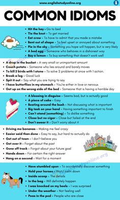 What Is An Idiom? List of 100 Popular Idioms with Examples in English - English Study Online Slang English, English Speaking Skills, Teaching English Grammar, English Language Learning, English Phrases, Learn English Words, English Writing Skills, English Study, English Lessons
