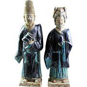 Male & female fully glazed tomb pottery attendants, Ming Dynasty!