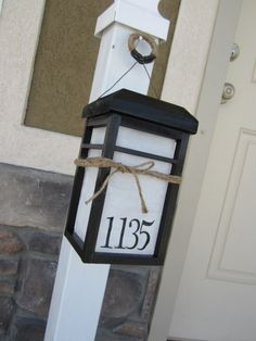 DIY Solar Lantern To Illuminate House Numbers. Would hang this from our mailbox, or attach to the post.