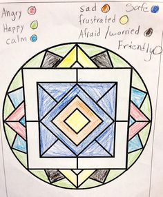 Feelings mandala. This is a simple intervention to evaluate frequency and intensity of emotions. You'll be amazed the things you will learn about the child as they start to color! This can be very helpful to start conversations  - repinned by @PediaStaff – Please Visit  ht.ly/63sNt for all our pediatric therapy pins