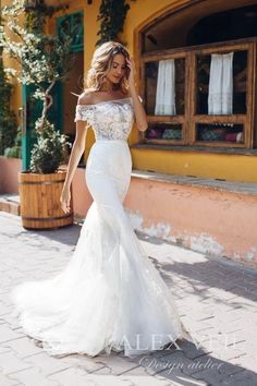 Elegant and stylish mermaid wedding gown 'Angelique' with exquisite lace details and open shoulders Boho Wedding Dress With Sleeves, White Boho Dress, Western Wedding Dresses, Princess Wedding Dresses, Modest Wedding Dresses, Perfect Wedding Dress, Wedding Dress Styles, Designer Wedding Dresses, Bridal Dresses