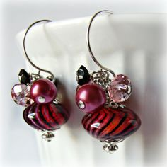 red and black stripe blown glass earrings