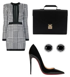 """Work"" by lizzythedizzy on Polyvore featuring Balmain, Christian Louboutin, Louis Vuitton and Thomas Sabo"