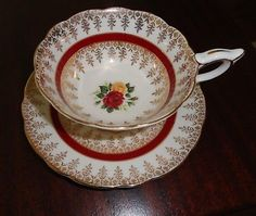 Royal Stafford 2181 Footed Tea Cup Saucer Roses Gold Trim Floral England Bone