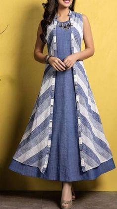 Kurti with jacket Simple Kurti Designs, Salwar Designs, Kurti Neck Designs, Kurta Designs Women, Kurti Designs Party Wear, Cotton Kurtis Designs, Dress Neck Designs, Stylish Dress Designs, Designs For Dresses