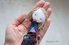 Young Girl Art Doll Brooch  mixed media collage gift by miopupazzo