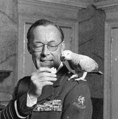Prins  Bernard  geeft zijn papegaai een lekker hapje.