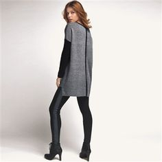 Two-Tone V-Neck Asymmetric Tunic Sweater, 25% Wool Grey marl/black