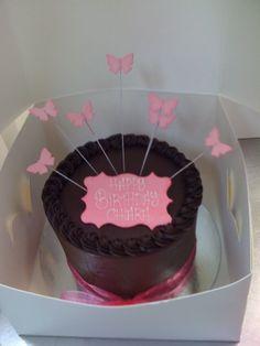 Pink on chocolate ganache classic birthday cake