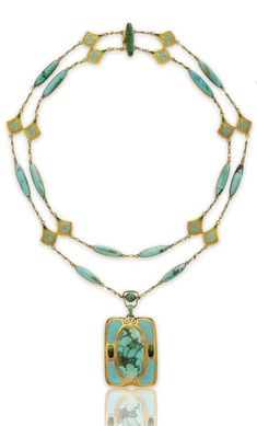 Lot A turquoise, enamel and gold necklace, by Louis Comfort Tiffany, Tiffany & Co. Pearl Jewelry, Jewelry Art, Antique Jewelry, Gold Jewelry, Jewelery, Vintage Jewelry, Jewelry Necklaces, Beaded Necklace, Jewelry Design