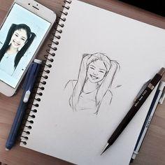 Work in progress 😌 Kpop Drawings, Pencil Art Drawings, Realistic Drawings, Art Drawings Sketches, Cartoon Drawings, Cute Drawings, Pink Drawing, Boy Drawing, Fanart
