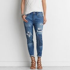 AEO Tomgirl Jeans ($60) ❤ liked on Polyvore featuring jeans, shadow patched blues, relaxed fit jeans, american eagle outfitters jeans, american eagle outfitters, tapered jeans and patched jeans