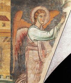 Annunciazione di fine XII sec. Un tempo sull'arco trionfale di San Giovanni in Conca.  Ora al Museo di Castello Sforzesco
