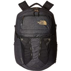 The North Face Women's Recon (TNF Black/24k Gold) Backpack Bags ($99) ❤ liked on Polyvore featuring bags, backpacks, the north face backpack, padded laptop backpack, backpack laptop bags, american backpack and utility backpack