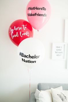 """The Bachelor themed balloons from """"The Bachelor"""" Viewing Party on Kara's Party I… Die Luftballons zum Thema Bachelor von """"The Bachelor Night, The Bachelor Tv Show, Bachelor Parties, Bachelorette Finale, Bachelorette Party Themes, Pam Pam, A Little Party, Adult Birthday Party, Party Planning"""