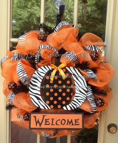 Fall Pumpkin Welcome Wreath, Halloween Wreath,  Fall Wreath, Deco Mesh, Door Wreath, Home Decor, Poly Mesh on Etsy, $85.00