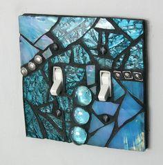 Amazing Aqua -  Double Mosaic Light Switch Cover Wall Plate