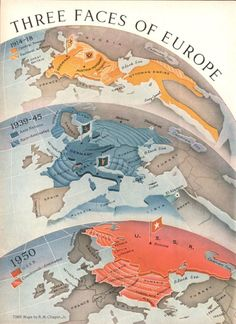 """""""Three Faces of Europe"""" Time, 2 January 1950. Map by R. M. Chapin, Jr."""