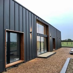 Shed Cladding, Wood Cladding Exterior, Black Cladding, Cladding Panels, Modern Barn House, Modern Shed, Steel Frame House, Steel House, Barn Conversion Exterior