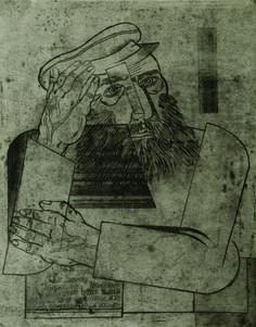 Jankel Adler (1895 - 1949), Ein Jude, c.1926,  Etching 44.5 x 34.7 cm // Jankel Adler (26 July 1895 – 25 April 1949) was a Jewish-Polish painter and printmaker.