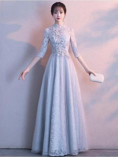 Long sleeve prom dress,Blue A-Line evening gown JJP 3219 Prom Gown With Sleeves, Evening Gowns With Sleeves, Long Sleeve Gown, Evening Dresses, Banquet Dresses, Prom Dresses Blue, Homecoming Dresses, Bridesmaid Dresses, Simple Dresses