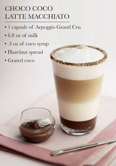 Cane Sugar and Cinnamon Café Nothing says indulgence quite like a Nespresso coffee creation bursting with chocolate flavor. Try serving this Choco Coco Latte Macchiato recipe to your party guests as a delicious dessert. Coffee Menu, Coffee Latte, Coffee Drinks, Coffee Shop, Chocolate Coffee, Chocolate Hazelnut, Dessert Drinks, Frappe, Coffee Art