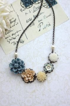 Dusty Blue, Latte Brown, Ivory, White, Antiqued Brass Flower Collage Bib Necklace by Marolsha.