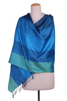 Silk shawl, 'Ocean Glamour' - 100% Silk Woven Shawl in Green and Blue Stripe Pattern