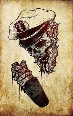 Drunk dead marineer captain tattoo. Tatouage de marin…