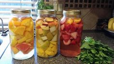 Yummy infused water in 1/2 gallon Mason jars. From left to right: grapefruit lemon orange - peach pear mango - strawberry orange.  Tried a lemon lime grapefruit and the grapefruit was a bit too much. Cut up fruit and add water, chill and enjoy!