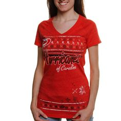 NHL Reebok Carolina Hurricanes Women's Fair Isle Tri-Blend V-Neck T-Shirt undefined