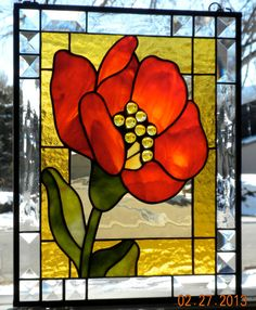 Poppy handmade stained glass window panel stylized flower modern orange yellow green art deco